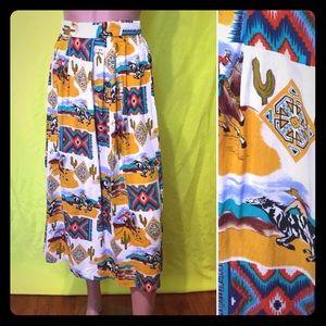 Vintage 1980s Western Midi Skirt
